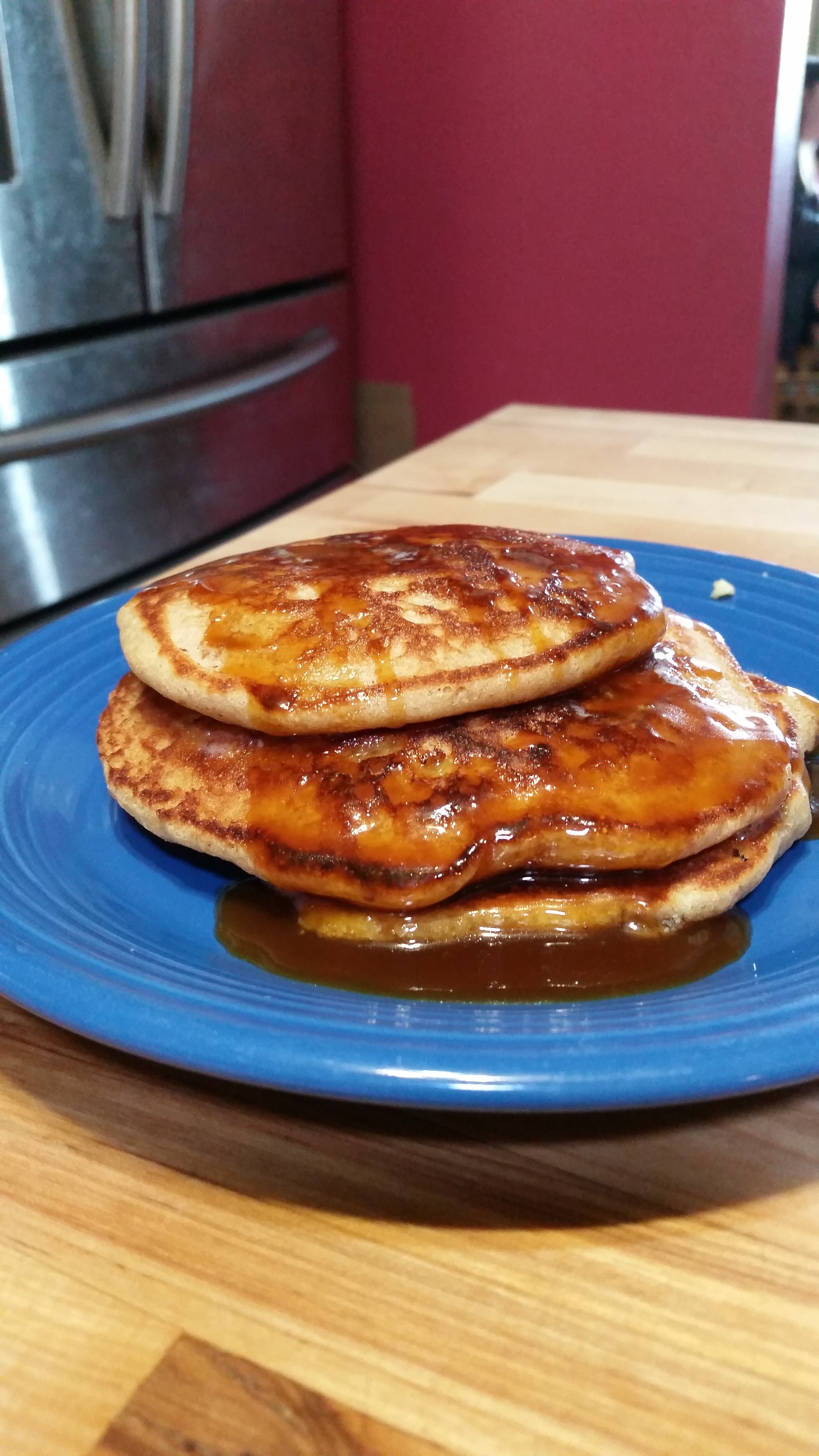 Banana Pecan Pancakes with Buttermilk Syrup