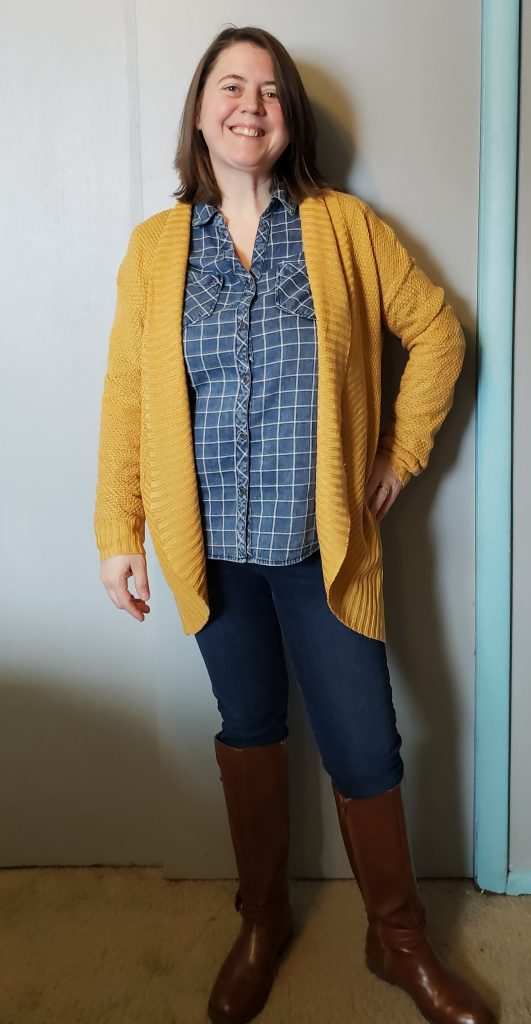 Stitch Fix cardigan and denim shirt