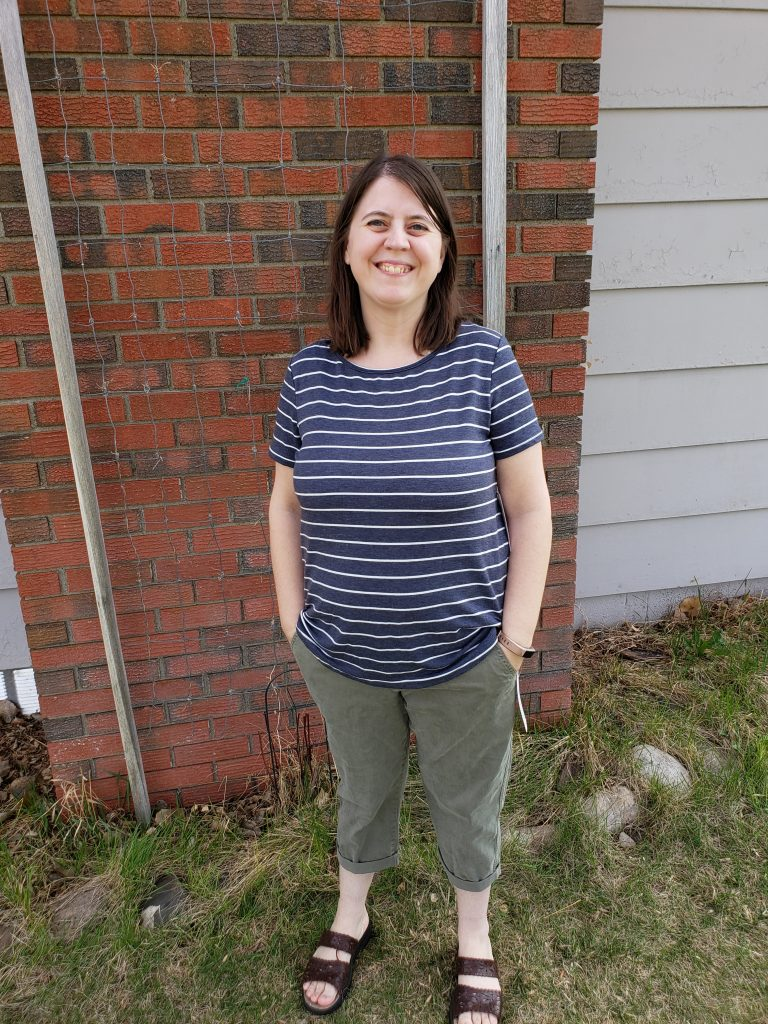 Grey Striped Shirt Olive Capri Pants from Stich Fix
